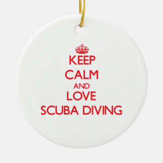 Keep calm and love Scuba Diving Double-Sided Ceramic Round Christmas Ornament