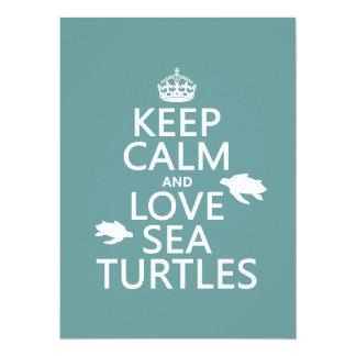 "Keep Calm and Love Sea Turtles 5.5"" X 7.5"" Invitation Card"