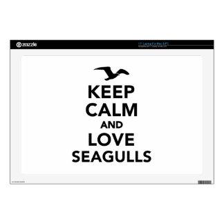 "Keep calm and love seagulls 17"" laptop skin"