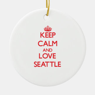 Keep Calm and Love Seattle Ceramic Ornament