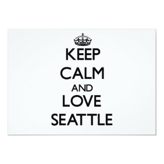 "Keep Calm and love Seattle 5"" X 7"" Invitation Card"