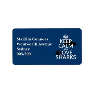 Keep Calm and Love Sharks (customizable colors) Address Label