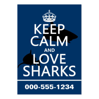Keep Calm and Love Sharks (customizable colors) Large Business Cards (Pack Of 100)