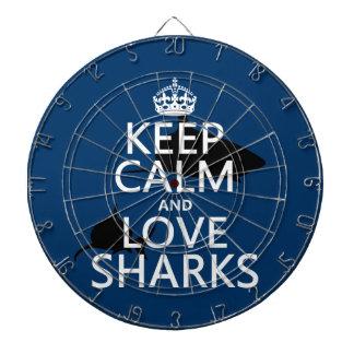 Keep Calm and Love Sharks (customizable colors) Dartboard