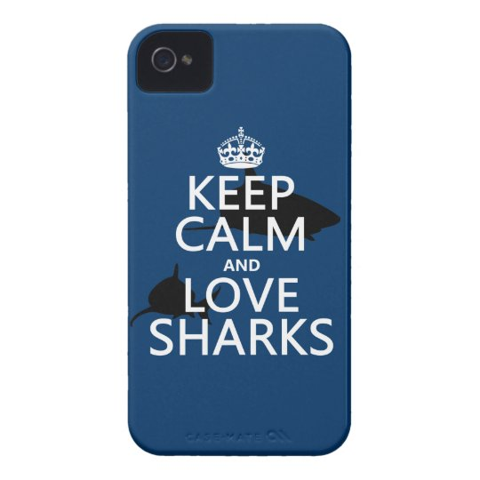 Keep Calm and Love Sharks (customizable colors) iPhone 4 Cover