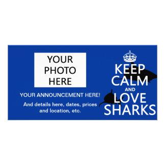 Keep Calm and Love Sharks (customizable colors) Photo Card Template