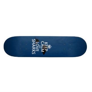 Keep Calm and Love Sharks (customizable colors) Skateboard Deck