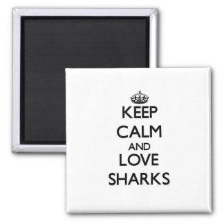 Keep calm and Love Sharks Refrigerator Magnet