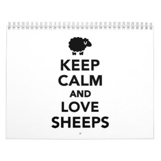Keep calm and love Sheeps Wall Calendar