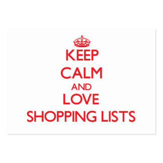 Keep calm and love Shopping Lists Large Business Cards (Pack Of 100)