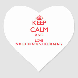 Keep calm and love Short Track Speed Skating Heart Sticker