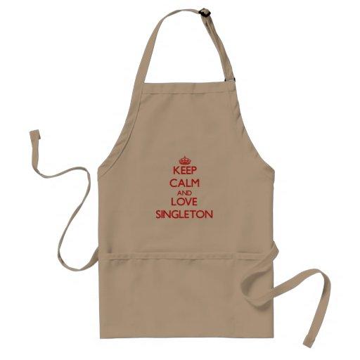 Keep calm and love Singleton Adult Apron