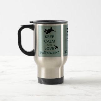 Keep Calm and Love Skateboarding unique print Travel Mug