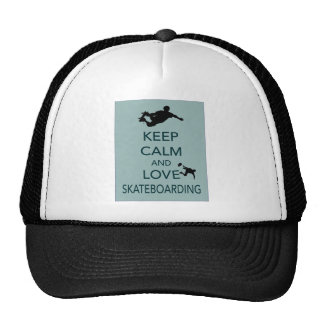 Keep Calm and Love Skateboarding unique print Trucker Hat