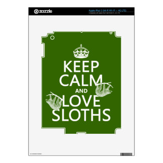 Keep Calm and Love Sloths (any background color) Decals For iPad 3