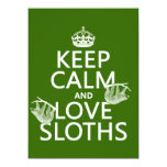 """Keep Calm and Love Sloths (any background color) 5.5"""" X 7.5"""" Invitation Card"""
