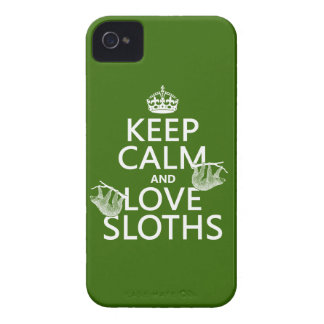Keep Calm and Love Sloths (any background color) iPhone 4 Case-Mate Case