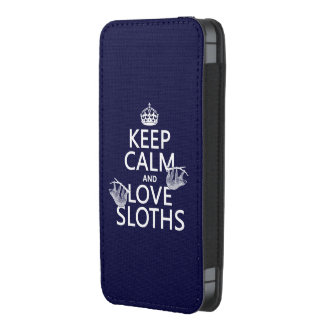 Keep Calm and Love Sloths (any background color) iPhone 5 Pouch