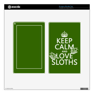 Keep Calm and Love Sloths (any background color) Kindle Fire Skin