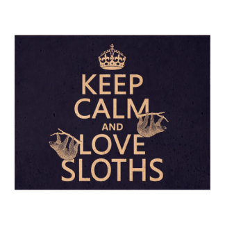 Keep Calm and Love Sloths (any background color) Cork Paper Print