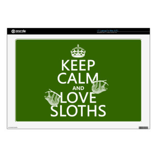 Keep Calm and Love Sloths (any background color) Skins For Laptops