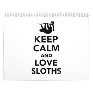 Keep calm and love sloths calendar