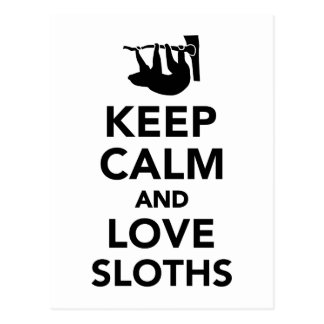 Keep calm and love sloths postcard