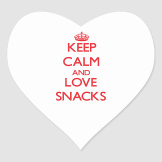 Keep calm and love Snacks Heart Stickers