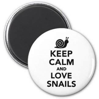 Keep calm and love Snails 2 Inch Round Magnet