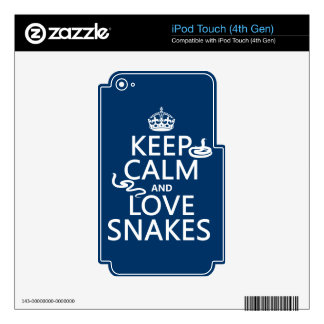 Keep Calm and Love Snakes (all colors) Decals For iPod Touch 4G