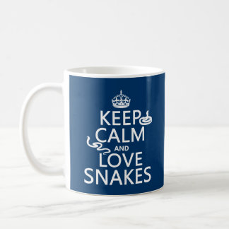 Keep Calm and Love Snakes (all colors) Classic White Coffee Mug