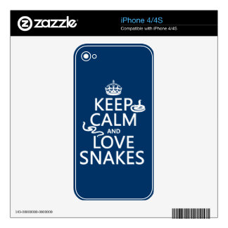 Keep Calm and Love Snakes (all colors) Skins For The iPhone 4S