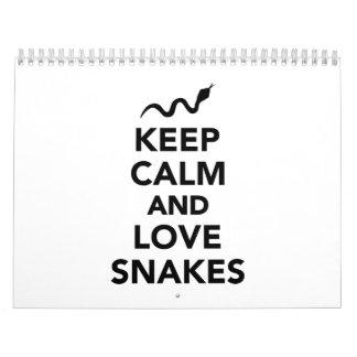Keep calm and love snakes calendar