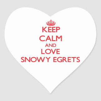 Keep calm and love Snowy Egrets Heart Stickers