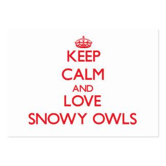 Keep calm and love Snowy Owls Business Card Template