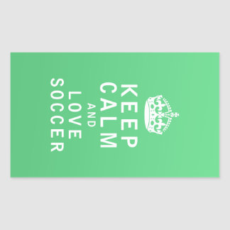 Keep Calm and Love Soccer Rectangular Sticker