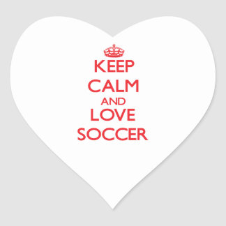 Keep calm and love Soccer Heart Stickers