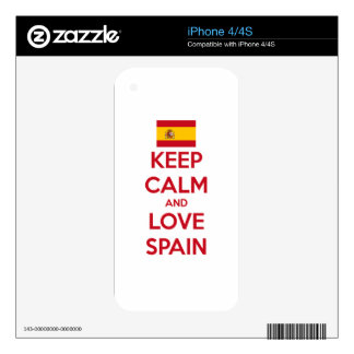 Keep Calm and Love Spain iPhone 4S Decal
