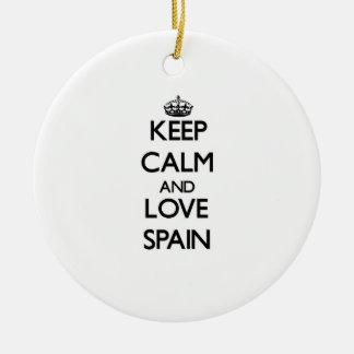 Keep Calm and Love Spain Christmas Tree Ornament