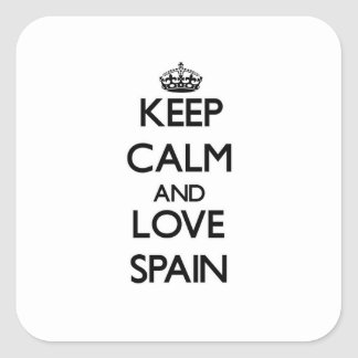 Keep Calm and Love Spain Square Sticker