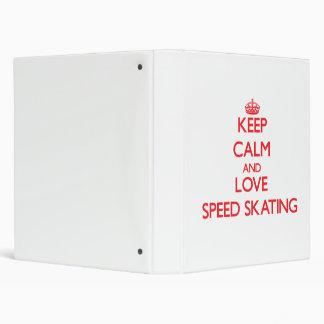 Keep calm and love Speed Skating Vinyl Binder