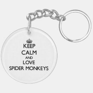 Keep calm and Love Spider Monkeys Double-Sided Round Acrylic Keychain