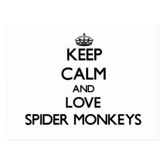 Keep calm and Love Spider Monkeys Postcard