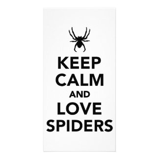 Keep calm and love spiders photo card