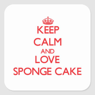 Keep calm and love Sponge Cake Square Stickers