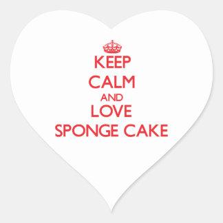 Keep calm and love Sponge Cake Heart Stickers
