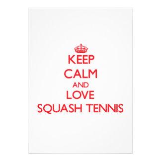 Keep calm and love Squash Tennis Custom Announcements