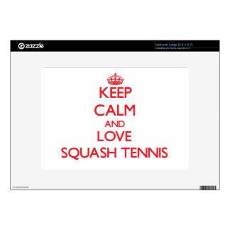 Keep calm and love Squash Tennis Large Netbook Skin