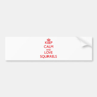 Keep calm and love Squirrels Bumper Stickers