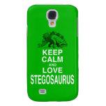 Keep Calm and Love Stegosaurus dinosaur design Samsung Galaxy S4 Covers